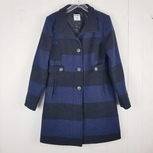 Old Navy Wool Rugby Striped Pea Coat Size Medium
